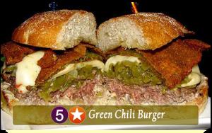 five star green chili burger