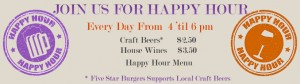 5 star burgers happy hour