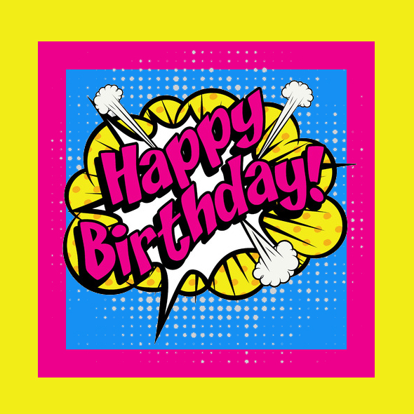Pop Art Comics Icon Happy Birthday!